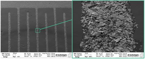 Rasterelektronenmikroskopische Aufnahmen von mittels Siebdruck hergestellten Elektroden
