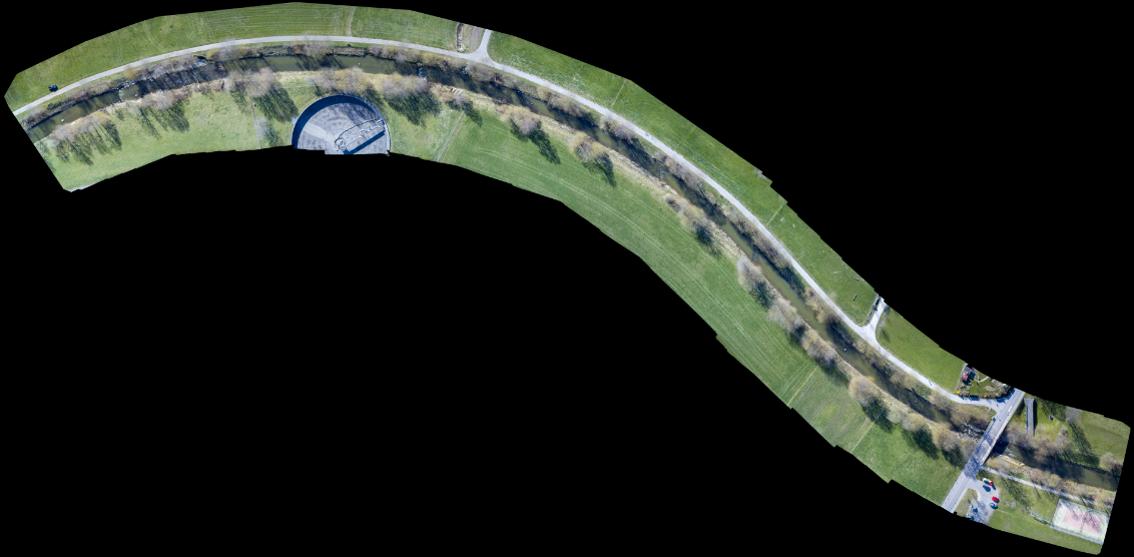 Orthomosaik eines Gewässers aufgenommen per Korridorscan