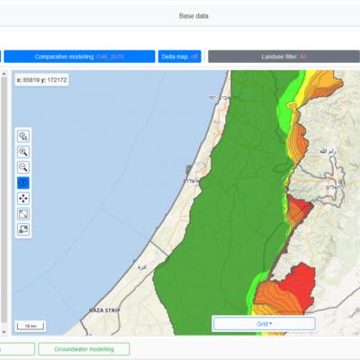 """Screenshot des MedWater DSS Tool """"Base data"""" zur interaktiven Visualisierung von Daten aus den MODFLOW-Rechenläufen."""