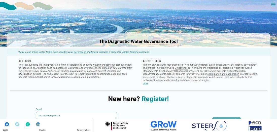 Screenshot des Diagnostic Water Governance Tools, das Nutzer*innen ermöglicht, eine Diagnose zum Wassergovernance-System sowie Vorschläge für passende Governance-Instrumente zu erhalten.