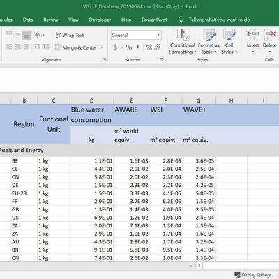 WELLE-Inventardatenbank in MS Excel