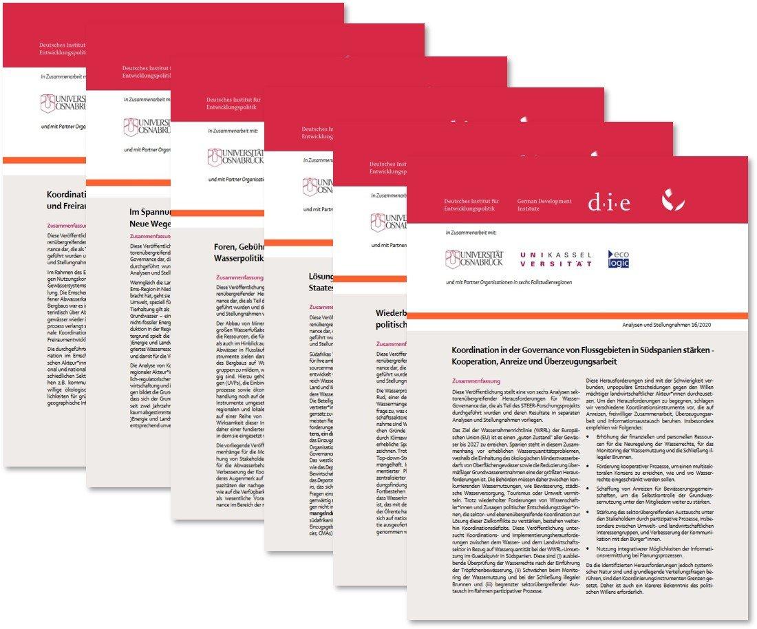 Das Bild zeigt die sechs veröffentlichten STEER Policy Briefs für mehr Koordination und Kooperation zur Erreichung der Ziele eines integrierten Wasserressourcenmanagements