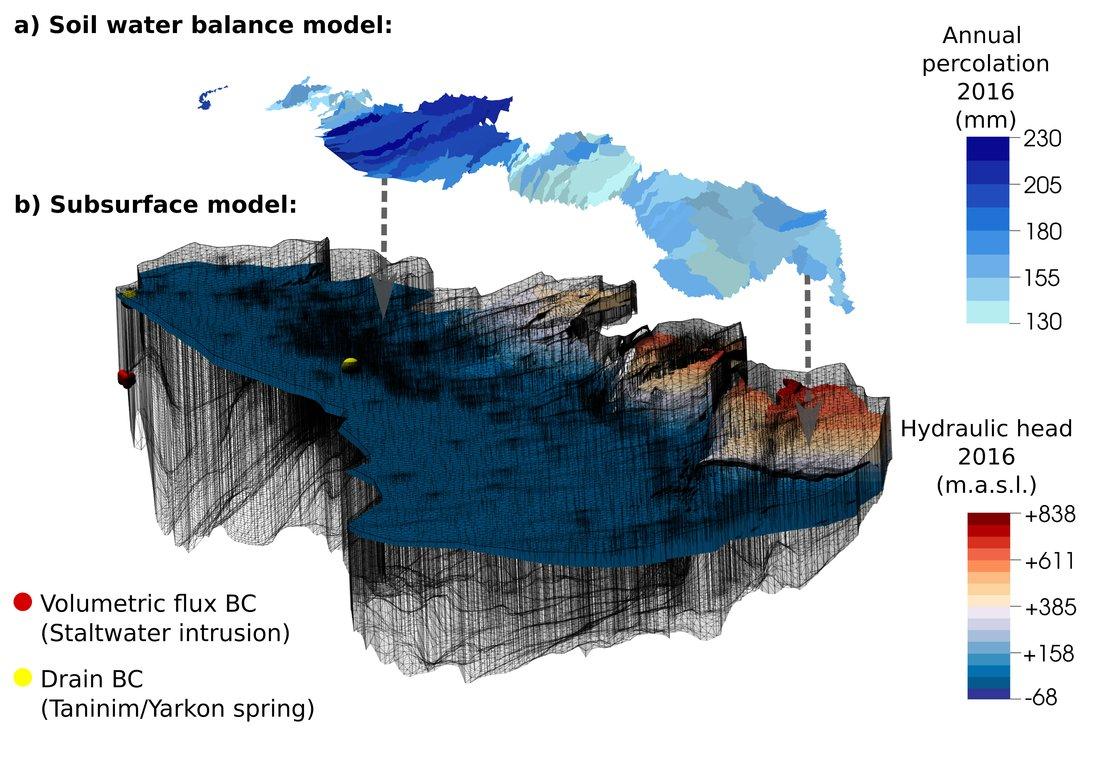Räumliche Diskretisierung und Simulationsergebnis des numerischen Strömungsmodells für das Jahr 2016.  (© Lysander Bresinsky)
