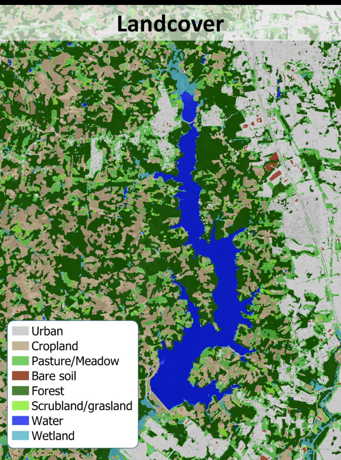 Ergebnis einer Landbedeckungsklassifikation im Bereich des Passauna-Stausees im brasilianischen Bundesstaat Paraná für 2018