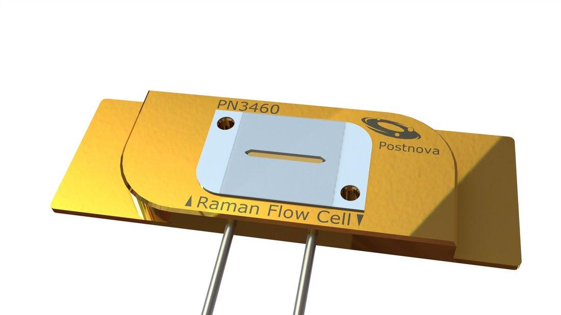 Schematischer Aufbau der Postnova PN3460 Raman Fluss Zelle für die Kopplung mit einem flussbasierten System