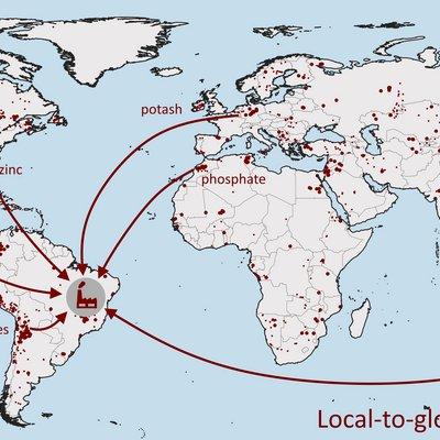Eine globale Karte beschreibt das Phänomen der möglichen Problemverlagerung durch prozessbezogene Nutzung von Ressourcen aus aller Welt, für deren Gewinnung und Weiterverarbeitung Wasser benötigt wird. Auf der Karte zu sehen ist eine Zuckermühle in Brasilien, die für den Anbau von Zuckerrohr, aus dessen Resten auch Elektrizität erzeugt wird, Dünger benötigt. Die Komponenten dafür (Bor, Nitrate, Phosphat, Pottasche und Zink) stammen aus verschiedenen Minen weltweit (als rote Punkte auf der Karte markiert), von denen einige hier beispielhaft als Lieferregionen ausgewählt und mit Pfeilen mit der Zuckermühle verbunden wurden. Die Gewinnung der jeweiligen Ressource hat das Potenzial vor Ort zu regionaler Wasserknappheit beizutragen.