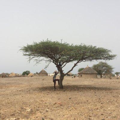 Zu sehen ist ein Foto mit zwei Männern, die an einem Baum lehnen und auf einem Ast sitzen, vor der Kulisse eines einheimischen und von Dürre geprägten Dorfes mit Lehmhütten im Sudan.