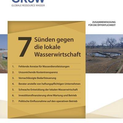Das Bild zeigt die erste Seite des Sieben-Sünden-Papiers, auf dem die Liste der Sieben Sünden gegen die lokale Wasserwirtschaft zu sehen ist.