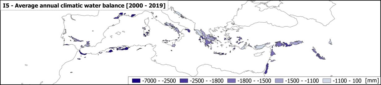 Die Karte zeigt die durchschnittliche, jährliche klimatische Wasserbilanz von 2000-2019 in mediterranen Karstaquiferen