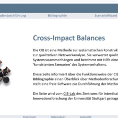 Screenshot der CIB Methodenhomepage, Startseite.