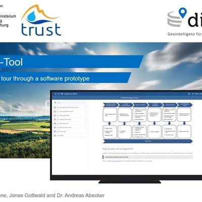 Darstellung des Startbildschirms des Tools vor einer Landschaftsaufnahme mit dem Schriftzug WSP-Tool: A guided tour through a software prototype.