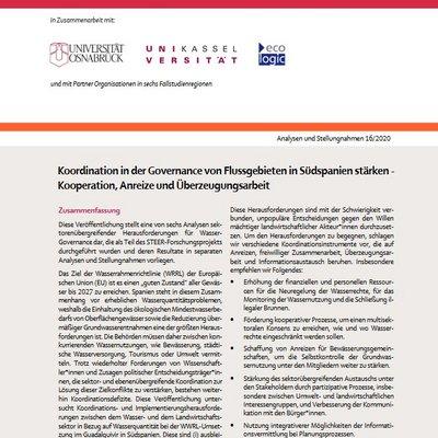 Sektorübergreifender Austausch, Transparenz und Monitoring sollten hierfür gestärkt sowie landwirtschaftliche Wasserrechte reduziert werden um im Flussgebiet Guadalquivir (Spanien) Quantitätsvorschriften der EU-Wasserrahmenrichtlinie zu erfüllen.