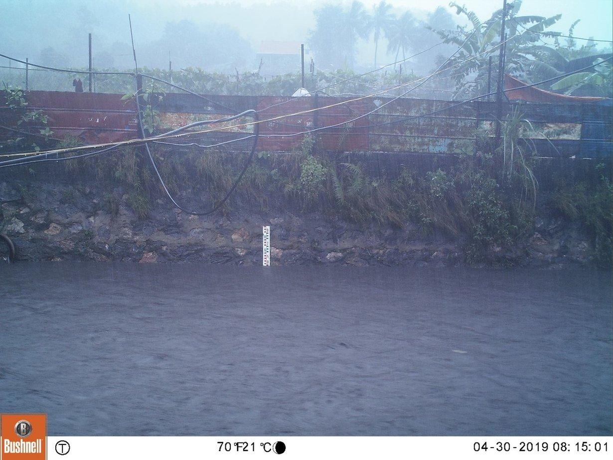 Aufnahme einer fest installierten Kamera, um in Vorflutern im Bergbaugebiet die Wasserspiegeländerungen bei Starkregenereignissen festzuhalten