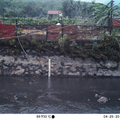 Aufnahme einer fest installierten Kamera, um in Vorflutern im Bergbaugebiet die Wasserspiegeländerungen bei
