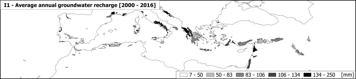 Die Graphik zeigt die durchschnittliche jährliche Grundwasserneubildung in mediterranen Karstaquiferen auf einer Karte