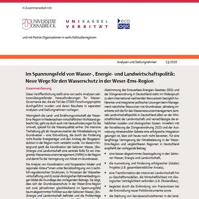 Die Analyse von Koordination und Kooperation in der Weser-Ems-Region zeigt, dass die fehlende Abstimmung zwischen Wasser-, (Bio-)Energie- und Landwirtschafts-Gesetzgebung maßgeblich zur problematischen Situation steigender Nitratgehalte im Grundwasser beiträgt.