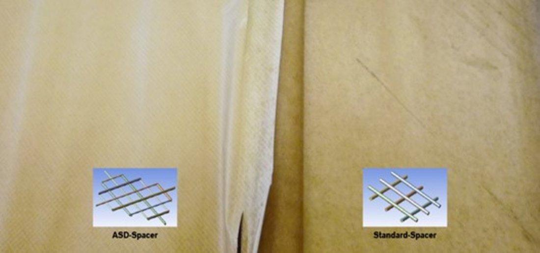 Der Vergleich der Membranoberflächen zeigt im Falle des ASD-Spacers deutlich weniger Fouling als mit dem Standard-Spacer