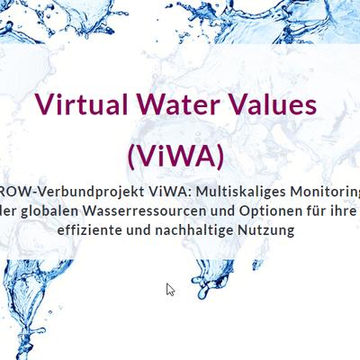 Screenshot der ViWA-Website: Der Schriftzug Virtual Water Values (ViWA) ist auf dem Hintergrund einer durch Wasserspritzer dargestellten Weltkarte zu sehen