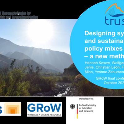 """Titelfolie der Präsentation """"Designing synergetic and sustainable policy mixes – a new methodology"""", im Hintergrund ist eine Landschaftsaufnahme aus dem oberen Einzugsgebiet des Flusses Lurín zu sehen."""